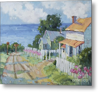 Pink Lady Lilies By The Sea By Joyce Hicks Metal Print by Joyce Hicks