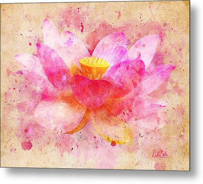 Pink Lotus Flower Abstract Artwork Metal Print by Nikki Marie Smith
