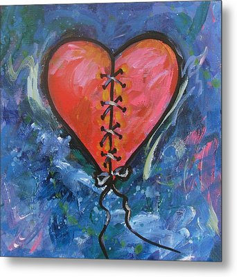 Pink Mended Broken Heart Metal Print by Carol Suzanne Niebuhr