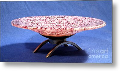 Pink Murrini Bowl With Stand Image B Metal Print by P Russell