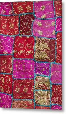 Pink Patchwork Indian Wall Hanging Metal Print by Tim Gainey