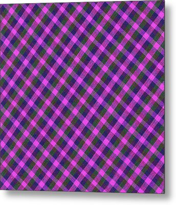 Pink Purple And Green Diagonal Plaid Textile Background Metal Print by Keith Webber Jr