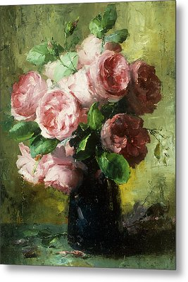 Pink Roses In A Vase Metal Print by Frans Mortelmans