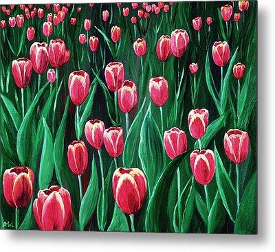 Pink Tulip Field Metal Print by Anastasiya Malakhova