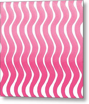 Pink Waves- Abstract Watercolor Pattern Metal Print by Linda Woods