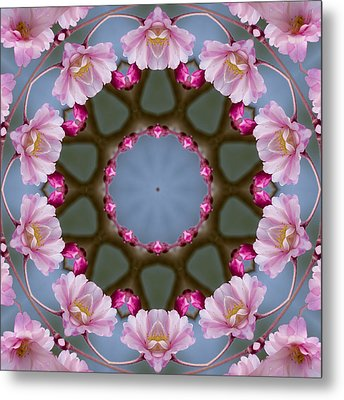 Pink Weeping Cherry Blossom Kaleidoscope Metal Print by Kathy Clark