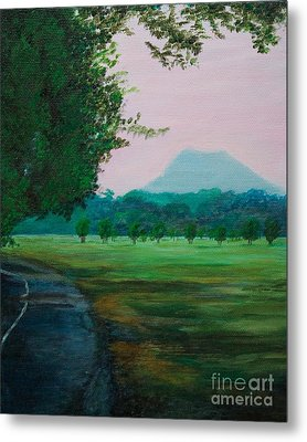 Pinnacle Mountain At Sunset From Two Rivers Park Metal Print by Amber Woodrum