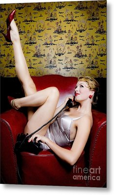 Pinup Girl With Phone Metal Print by Diane Diederich