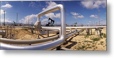 Pipelines On A Landscape, Taft, Kern Metal Print by Panoramic Images