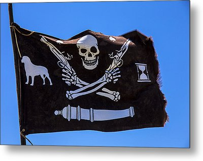 Pirate Flag With Skull And Pistols Metal Print by Garry Gay