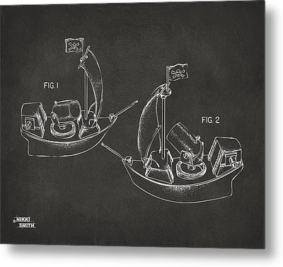 Pirate Ship Patent Artwork - Gray Metal Print by Nikki Marie Smith