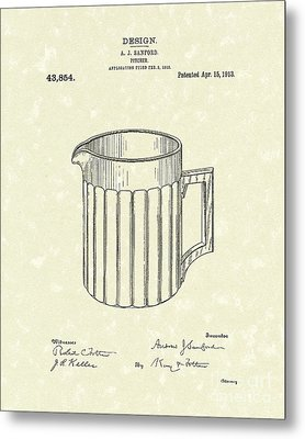 Pitcher 1913 Patent Art Metal Print by Prior Art Design