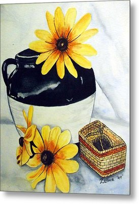 Pitcher With Yellow Flowers Metal Print by Zelma Hensel