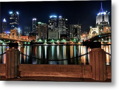 Pittsburgh At Night Metal Print by Frozen in Time Fine Art Photography