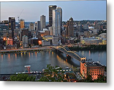 Pittsburgh Before Sunset Metal Print by Frozen in Time Fine Art Photography