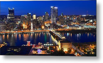 Pittsburgh Blue Hour Panorama Metal Print by Frozen in Time Fine Art Photography