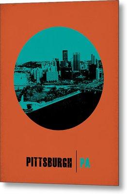 Pittsburgh Circle Poster 1 Metal Print by Naxart Studio