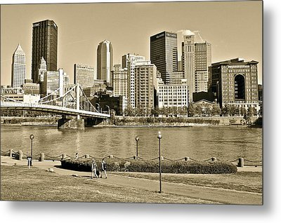 Pittsburgh In Sepia Metal Print by Frozen in Time Fine Art Photography