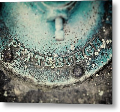 Pittsburgh In Teal Relief On A Vintage Water Pump Metal Print by Lisa Russo
