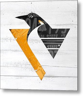 Pittsburgh Penguins Hockey Team Retro Logo Vintage Recycled Pennsylvania License Plate Art Metal Print by Design Turnpike