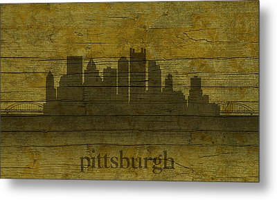 Pittsburgh Pennsylvania City Skyline Silhouette Distressed On Worn Peeling Wood Metal Print by Design Turnpike