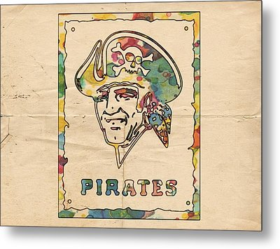 Pittsburgh Pirates Vintage Art Metal Print by Florian Rodarte