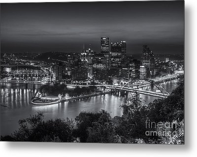 Pittsburgh Skyline Morning Twilight II Metal Print by Clarence Holmes