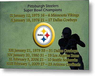 Pittsburgh Steelers Super Bowl Wins Metal Print by Movie Poster Prints