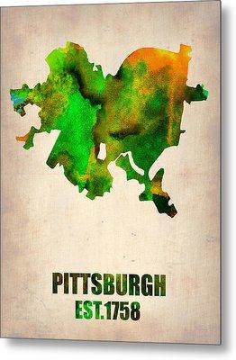 Pittsburgh Watercolor Map Metal Print by Naxart Studio
