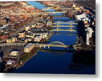 Pittsburgh's North Shore Aerial Metal Print by Mattucci Photography