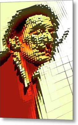 Pixilated Face Metal Print by Victor Habbick Visions