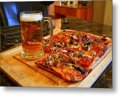 Pizza And Beer Metal Print by Kay Novy