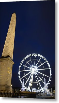 Place De La Concorde And The Ferris Wheel At Christmas Time Metal Print by Sami Sarkis