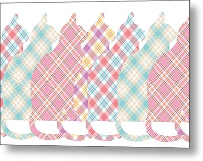 Plaid Cats Metal Print by Peggy Collins