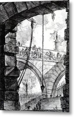 Plate 4 From The Carceri Series Metal Print by Giovanni Battista Piranesi