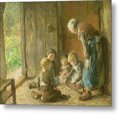 Playing Jacks On The Doorstep Metal Print by Bernardus Johannes Blommers