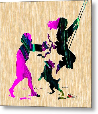 Playing On A Swing Metal Print by Marvin Blaine