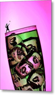 Playing Tennis On A Cup Of Lemonade Little People On Food Metal Print by Paul Ge
