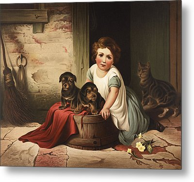 Playing With Friends Circa 1850 Metal Print by Aged Pixel