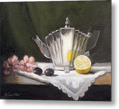 Pleated Teapot With Lemon Metal Print by Sarah Parks