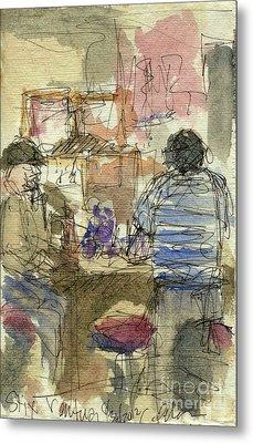 Plein Air Sketchbook. Stix Billiard Room. Ventura California. June 30. 2012. Boys At The Bar Metal Print by Cathy Peterson
