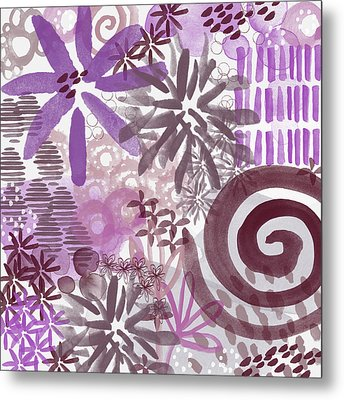 Plum And Grey Garden- Abstract Flower Painting Metal Print by Linda Woods