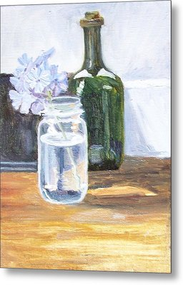 Plumbago In Glass Jar Metal Print by Mary Adam