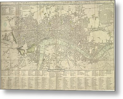 Pocket Plan Of London Metal Print by British Library