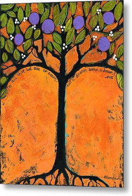 Poe Tree Art Metal Print by Blenda Studio