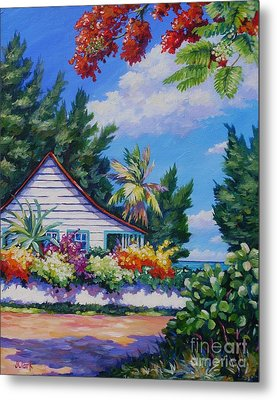 Poinciana And Cottage Metal Print by John Clark