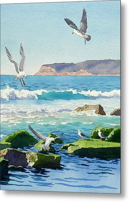 Point Loma Rocks Waves And Seagulls Metal Print by Mary Helmreich