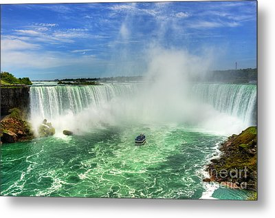 Point Of Land Cut In Two.. Metal Print by Nina Stavlund