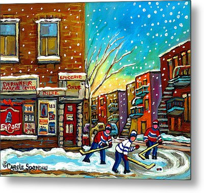 Pointe St. Charles Hockey Game At The Depanneur Montreal City Scenes Metal Print by Carole Spandau