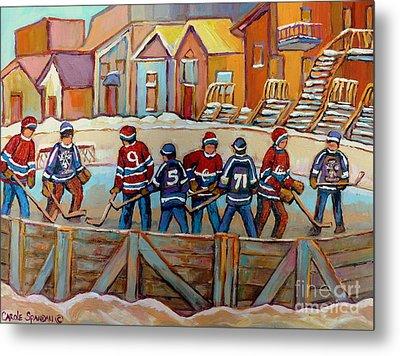 Pointe St. Charles Hockey Rinks Near Row Houses Montreal Winter City Scenes Metal Print by Carole Spandau